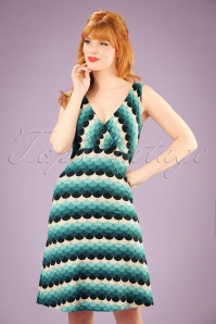 70s Ginger Frisky Dress in Dragonfly Blue