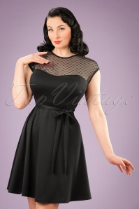 50s Madeline Hearts Only Swing Dress in Black