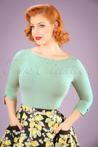 50s Modern Love Top in Mint