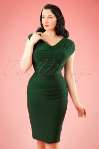 TopVintage exclusive ~ 50s Billie Pencil Dress in Forest Green