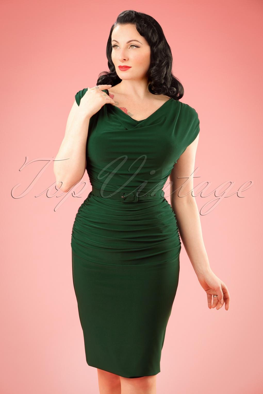 Wiggle Dresses 50s Billie Pencil Dress in Forest Green £110.24 AT vintagedancer.com