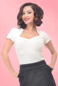 Steady Clothing Clothing 50s Sophia White Top 111 50 15107 5
