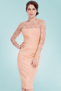 Vintage Chic Nude Fitted Dress with Lace 100 22 21248 20170220 0012