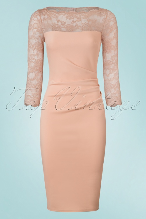 Vintage Chic Nude Fitted Dress with Lace 100 22 21248 20170220 0008w