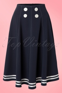 Miss Candyfloss 50s Mollys Sailor Skirt Ahoy Navy 51 4571 20130311 0003W