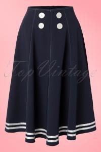 50s Mollys Sailor Skirt Ahoy Navy