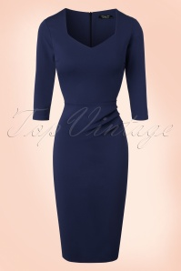 Vintage Chic Sweet Heart Blue Pencil Dress 21188 20161031 0011W