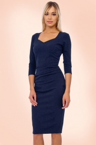 Vintage Chic Sweet Heart Blue Pencil Dress 21188 20161031 001