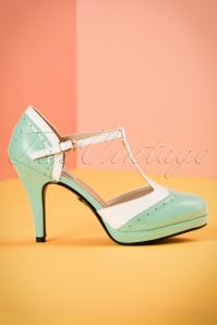 50s Anne T-Strap Pumps in Mint and White