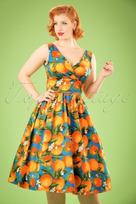 50s Laneway Swing Dress in Orange and Blue