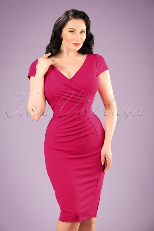 1960s Style Dresses- Retro Inspired Fashion 50s Brenda Pencil Dress in Magenta £43.31 AT vintagedancer.com