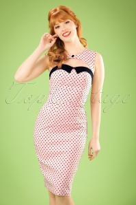 50s Miley Polkadot Pencil Dress in Light Pink