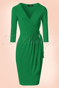 50s Layla Cross Over Pencil Dress in Emerald Green