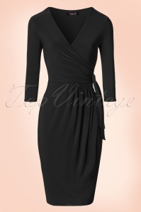50s Layla Cross Over Pencil Dress in Black