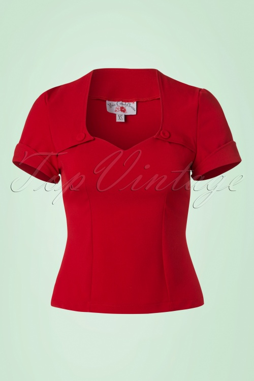 Miss Candyfloss Shortsleeved Red Rockabilly Top 110 20 20623 20170223 0003W