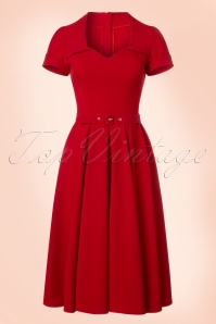 50s Stella Rose Swing Dress in Lipstick Red