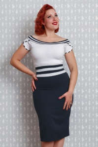 Miss Candyfloss Navy Blue and White Pencil Skirt 120 31 20624 20170223 0010