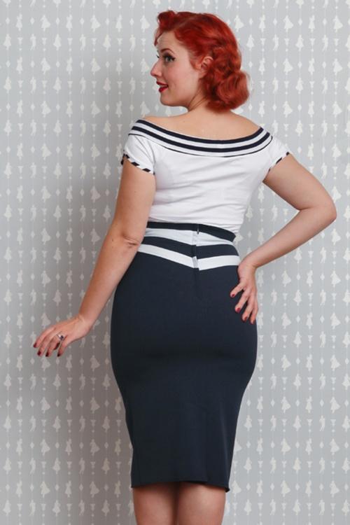 50s Laura Lee Paneled Pencil Skirt in Navy