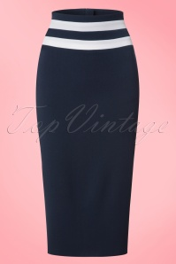 50s Laura Lee Paneled Pencil Skirt in Navy