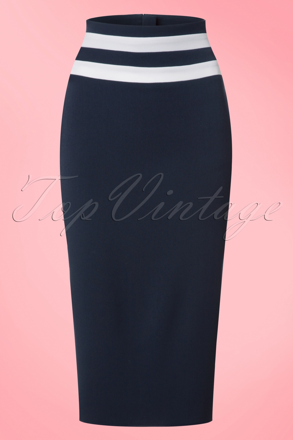 1950s Skirts for Sale: Poodle, Pencil, and Circle Skirts 50s Laura Lee Paneled Pencil Skirt in Navy £58.64 AT vintagedancer.com