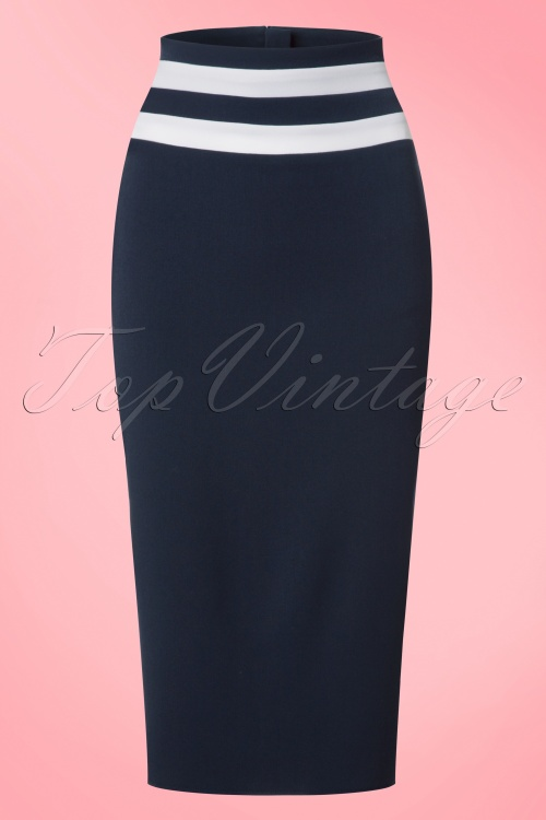 Miss Candyfloss Navy Blue and White Pencil Skirt 120 31 20624 20170223 0002w