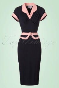 Miss Candyfloss Navy Pencil Dress 100 31 20617 20170224 0003W