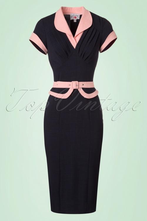 Miss Candyfloss Navy Pencil Dress 100 31 20617 20170224 0003W