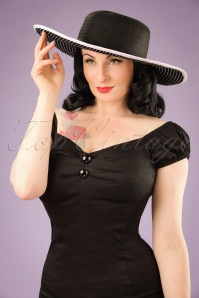 50s Georga Floppy Hat in Black