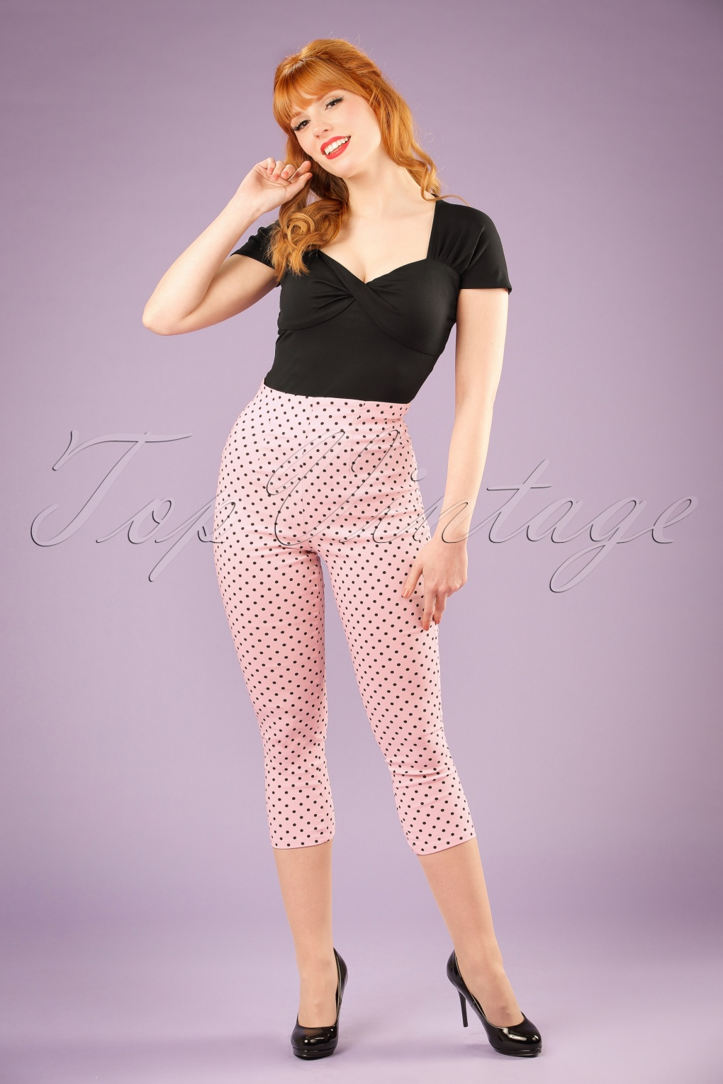 Women's 1960s Style Pants 50s Kay Polkadot Capri Pants in Light Pink £13.33 AT vintagedancer.com