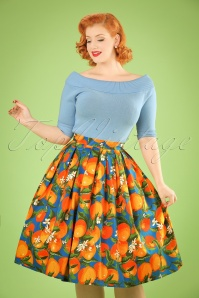50s Laneway Swing Skirt in Orange and Blue