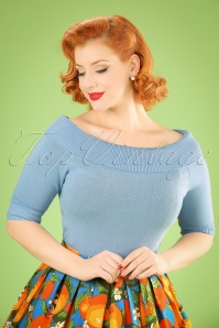 Collectif Clothing Bridgette Knitted Top in Blue 20639 20161130 1W