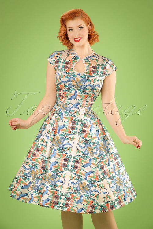 WDancing Days by Banned Mandala Floral Bird Swing Dress 102 57 20920 20170201 01W