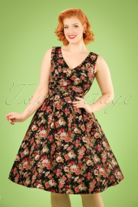 May Floral Swing Dress Années 50 en Noir