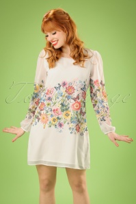 70s Georgette Botanical Flowers Mini Dress in White