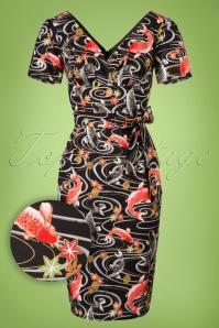 Victory Parade Rita Capsleeve Black Koi Japanese Print Dress 100 14 20043 20161019 0003W1