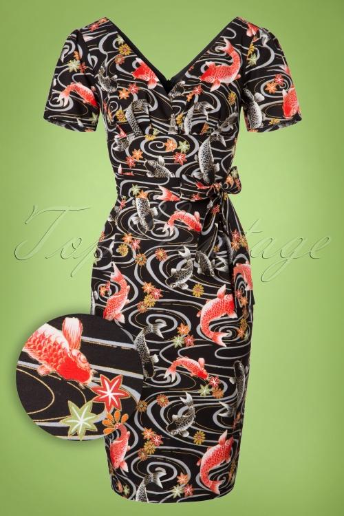 Topvintage exclusive 60s rita koi dress in black for Koi fish dress