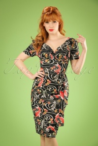 TopVintage Exclusive ~ Rita Koi Dress Années 60 en Noir