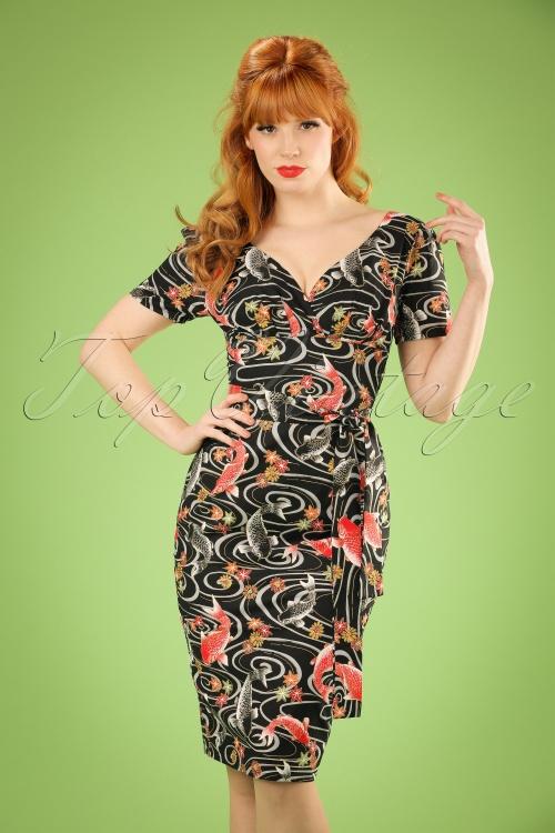 Victory Parade Rita Capsleeve Black Koi Japanese Print Dress 100 14 20043 20161019 1W