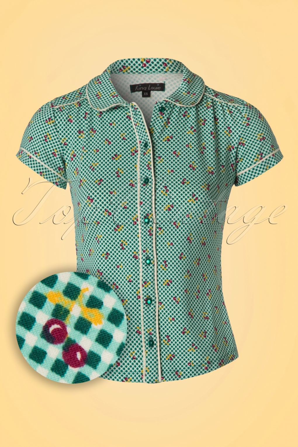 1930s Style Tops, Blouses & Sweaters Blush Blouse in Para Green £52.08 AT vintagedancer.com