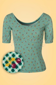 50s Ballerina Blush Top in Para Green