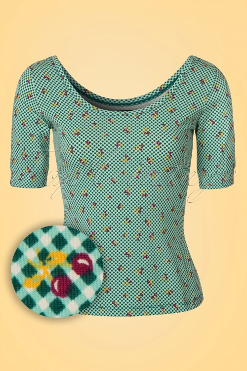 King Louie Cherry Checkered Ballerina Top in Green 111 49 20235 20170224 0006W1