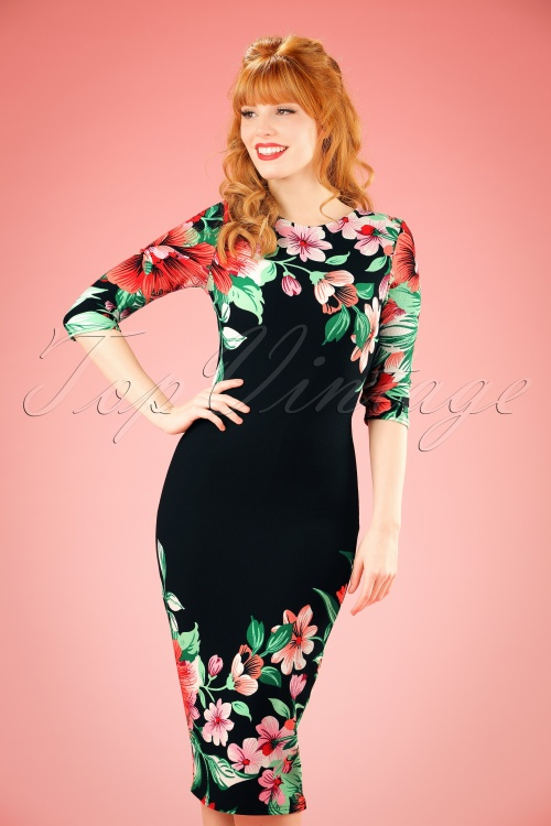 Vintage Chic 60s Aloha Tropical Garden Pencil Dress in Black 100 14 20886 20170131 1W