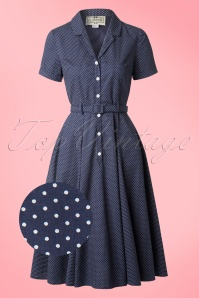 Collectif Clothing Catherina Polka Dot Shirt Swing Dress Navy Blue 14753 20141213 0012wv