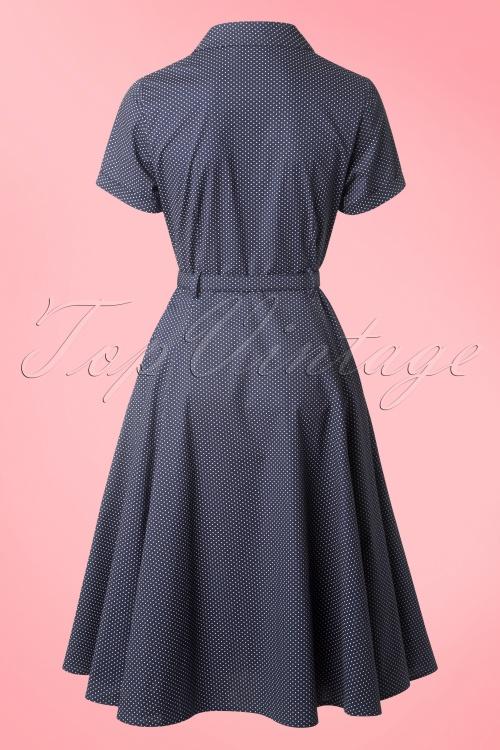 40s Caterina Mini Polkadot Swing Dress in Navy