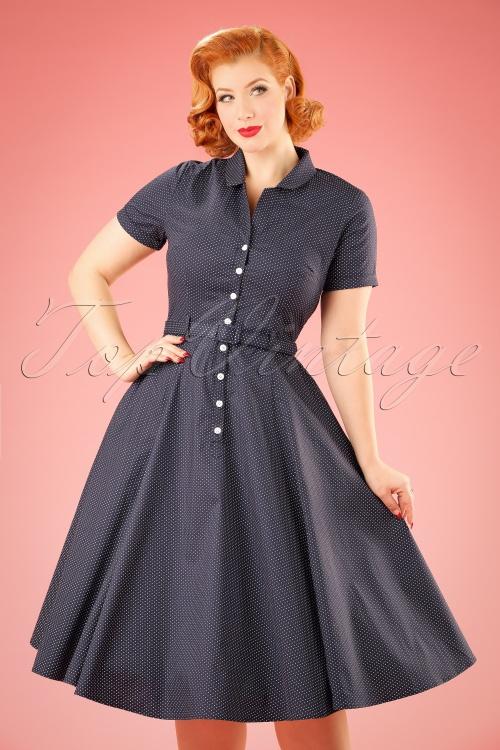 Collectif Clothing Catherina Polka Dot Shirt Swing Dress Navy Blue 14753 20141213 1W