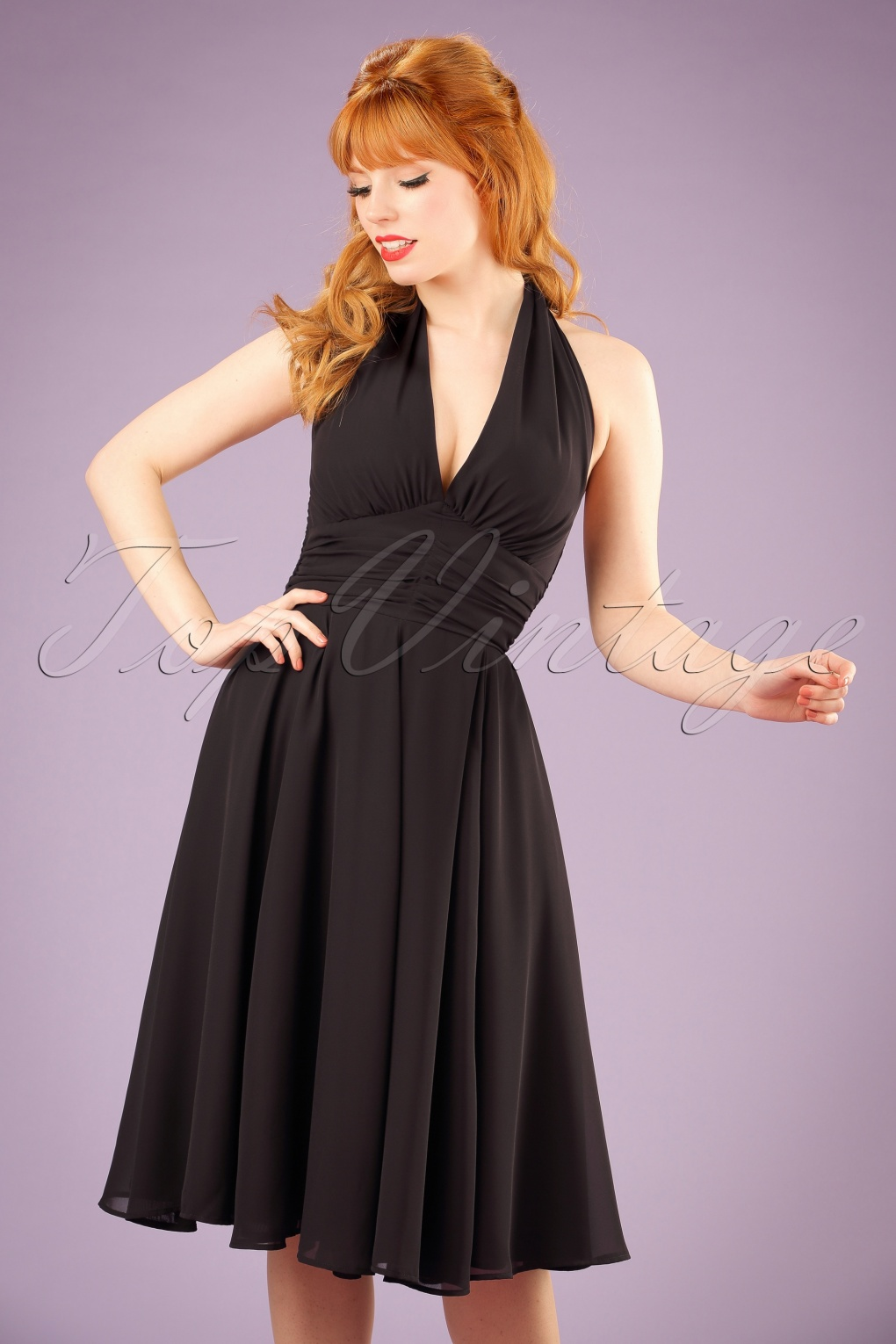 Pin Up Girl Costumes | Pin Up Costumes 50s Monroe Dress in Black £47.91 AT vintagedancer.com