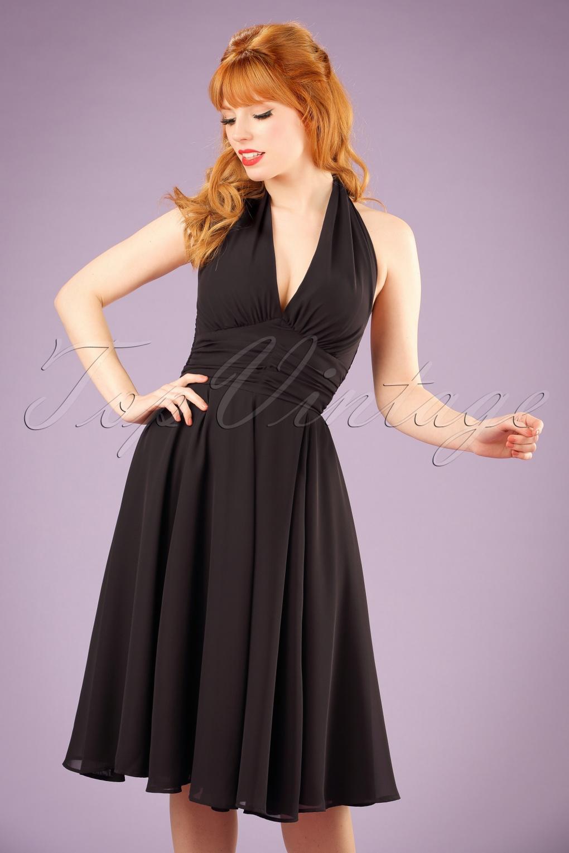 Pin Up Dresses | Pinup Clothing & Fashion 50s Monroe Dress in Black £47.91 AT vintagedancer.com