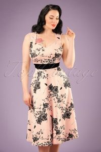 TopVintage Exclusive ~ 50s Veronique Floral Swing Dress in Nude