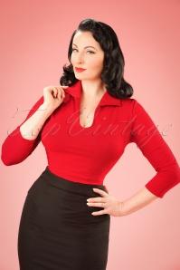 Vixen by Micheline Pitt Top in Red 113 20 20370 20121231 0003W