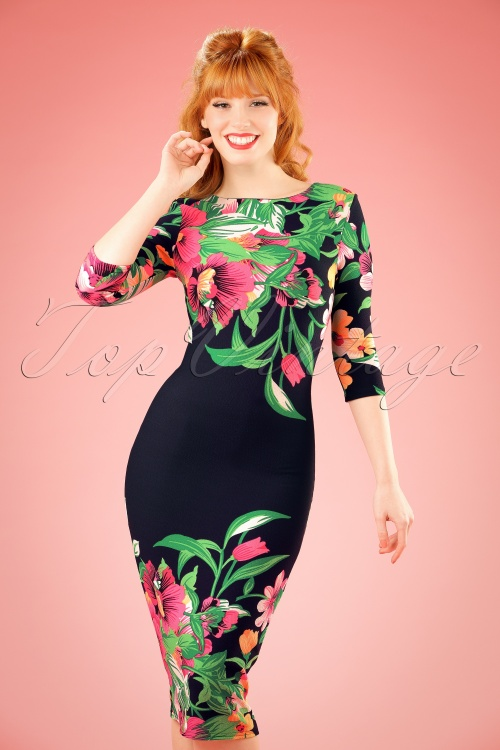 Vintage Chic Tropical Garden Floral Pencil Dress 100 39 18559 20160309 1W